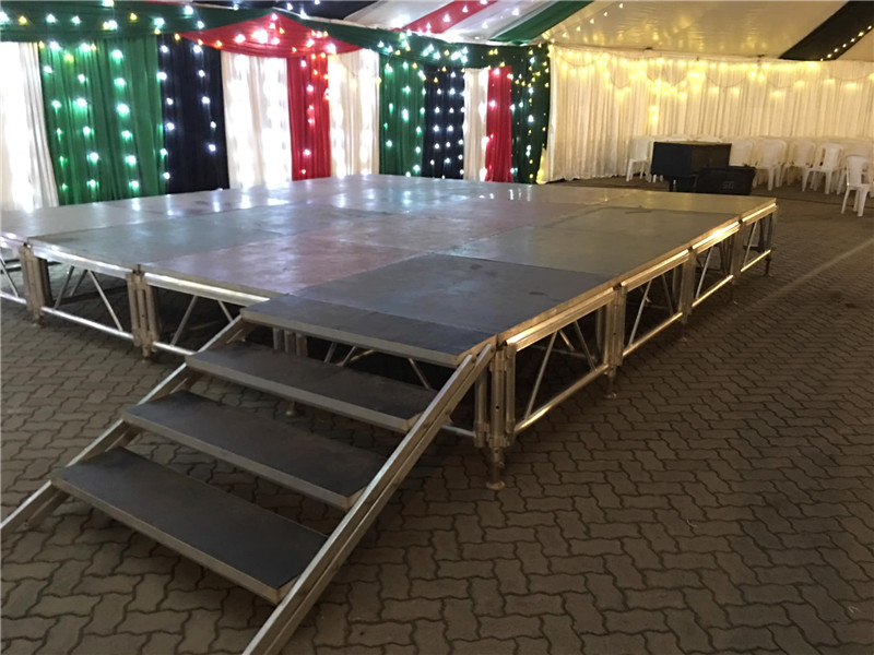 Stage Platform with LED star lighting and truss roof systems